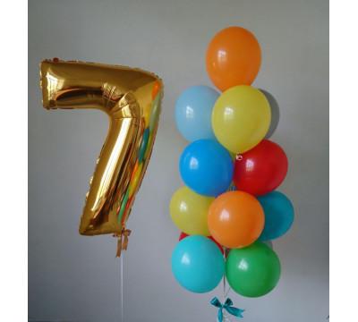 Композиция на 7 лет с разноцветными шарами
