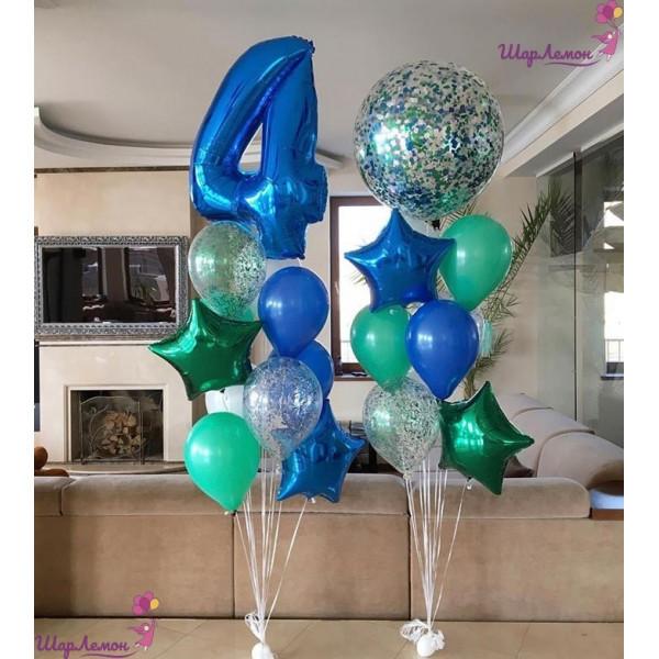 Композиция с цифрой и шаром-гигантом для именинника на 4 года