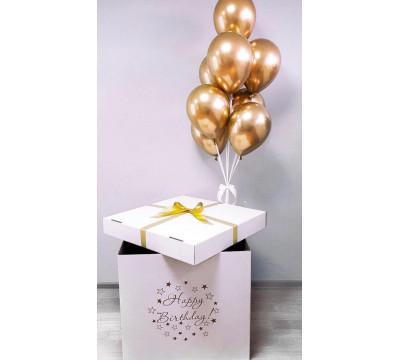 Коробка-сюрприз с золотыми шарами хром
