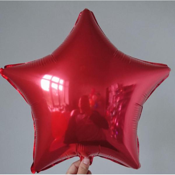 Красная фольгированная звезда, 45 см