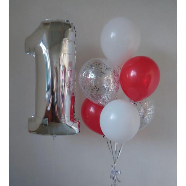 Красно-белый набор шаров на 1 годик