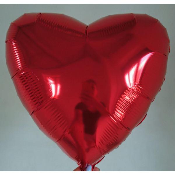 Красное фольгированное сердце, 45 см