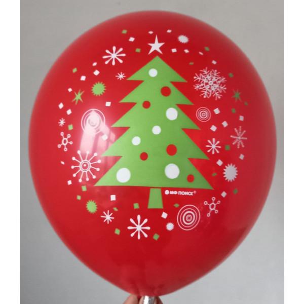 Красный латексный шар с зеленой елкой