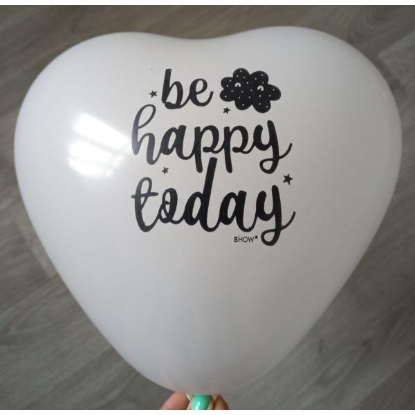 """Латексное сердце """"be happy today"""", белое"""