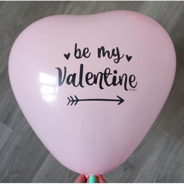 """Латексное сердце """"be my Valentine"""", светло-розовое"""