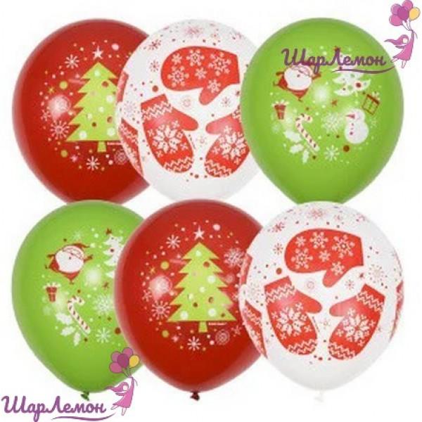 Латексные шары с новогодними рисунками