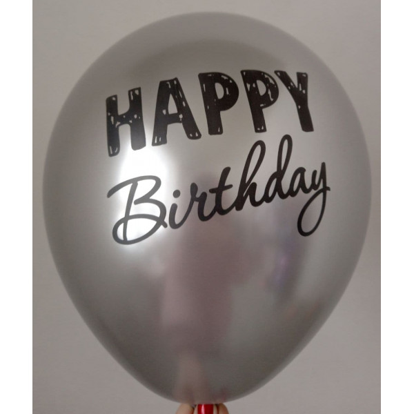 "Латексный хромированный шар ""Happy Birthday"", серебро"