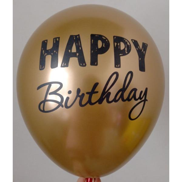 """Латексный хромированный шар """"Happy Birthday"""", золото"""
