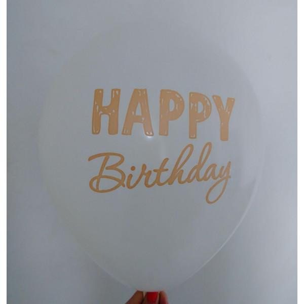 """Латексный шар """"Happy Birthday"""", белый"""