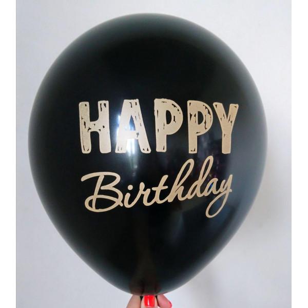 """Латексный шар """"Happy Birthday"""", черный"""