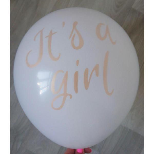 """Латексный шар """"It's a girl"""", белый"""