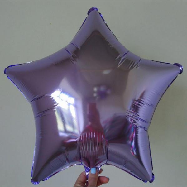 Лиловая фольгированная звезда, 45 см
