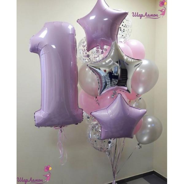 Лилово-розовая композиция малышке на 1 год