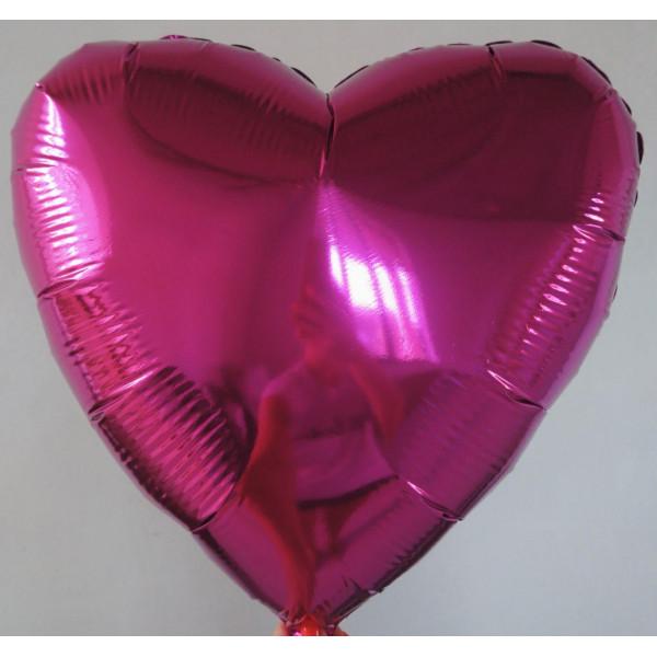 Малиновое фольгированное сердце, 45 см