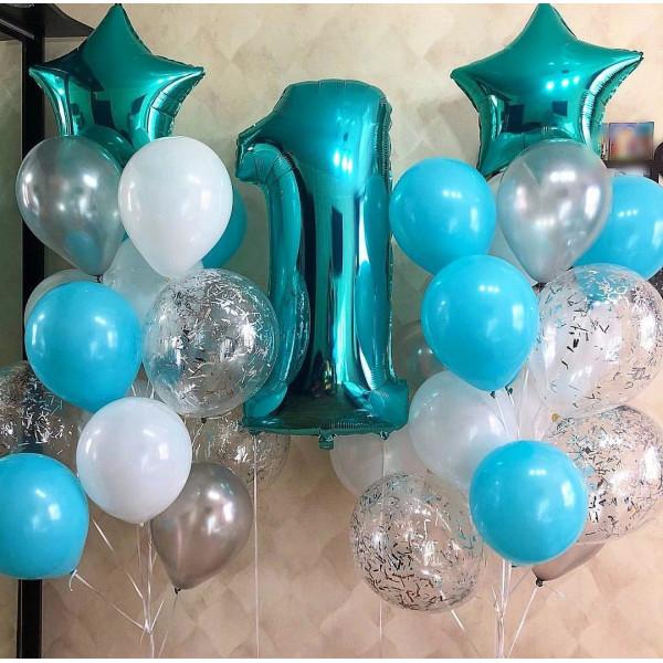 Мятный набор шаров на 1 годик