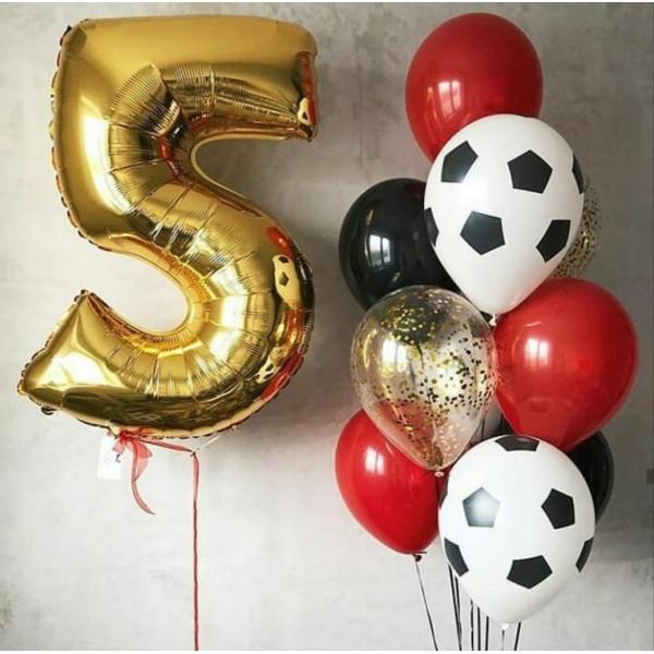 Набор шаров на 5 лет с футбольными мячами