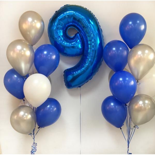 Набор шаров на 9 лет для мальчика