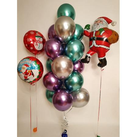 Набор шаров на Новый год с Сантой