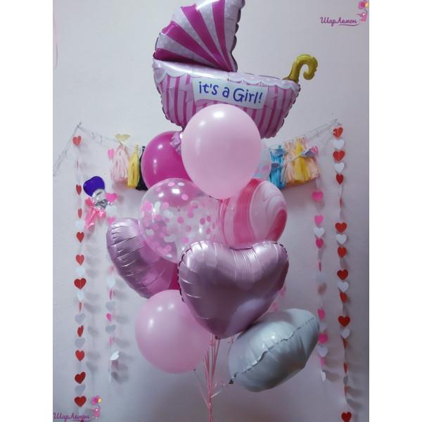Нежная связка шаров на выписку для девочки