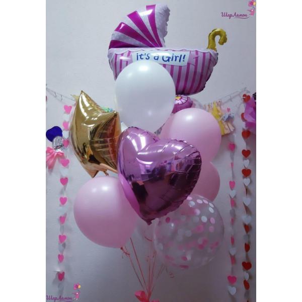 Нежно-розовый фонтан на выписку для девочки