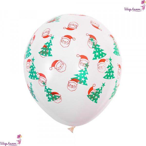 """Новогодний латексный шар """"Дед мороз и елки"""""""