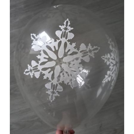 Прозрачный латексный шар с большими снежинками