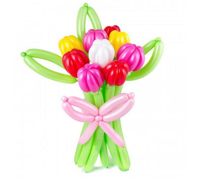 Разноцветный букет тюльпанов