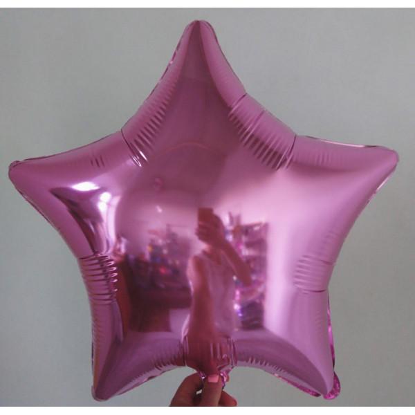 Розовая фольгированная звезда, 45 см
