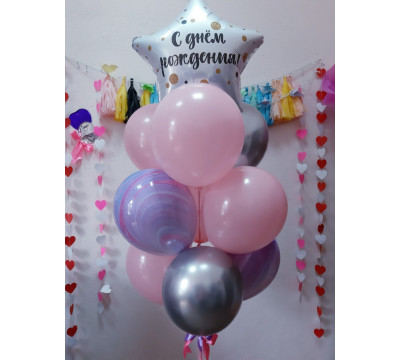 Розово-сиреневый фонтан на День рождения