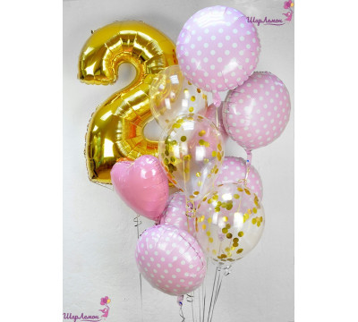 Розово-золотая композиция на 2 года