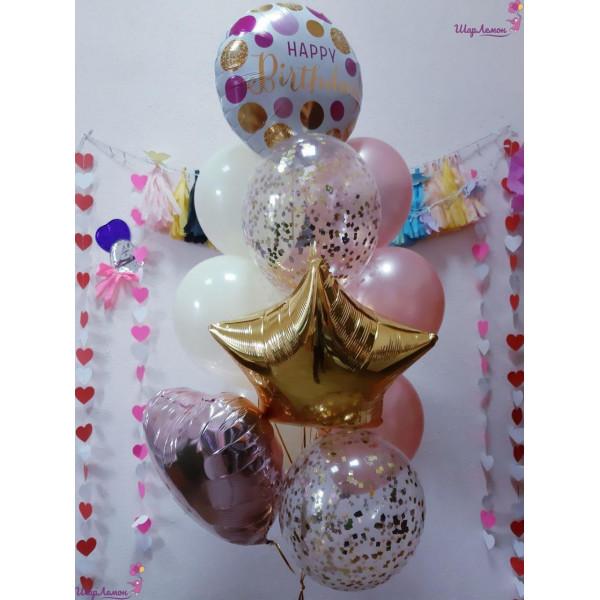 Розово-золотой фонтан ко Дню рождения