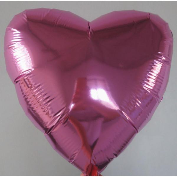 Розовое фольгированное сердце, 45 см