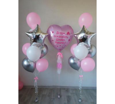 Серебряно-розовая композиция на встречу из роддома