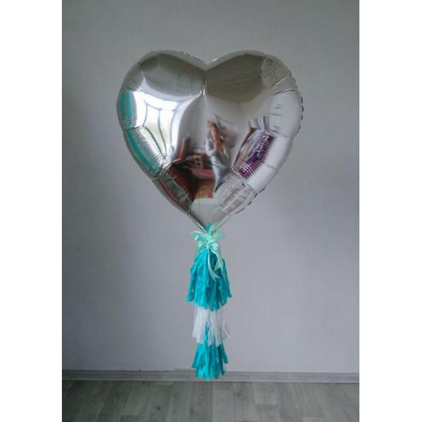 Серебряное фольгированное сердце с гирляндой тассел, 80 см