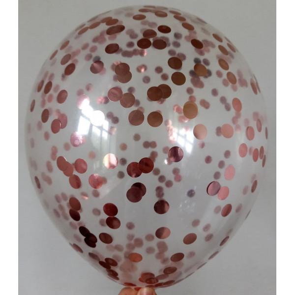 Шар с конфетти розовое золото, маленькие круги