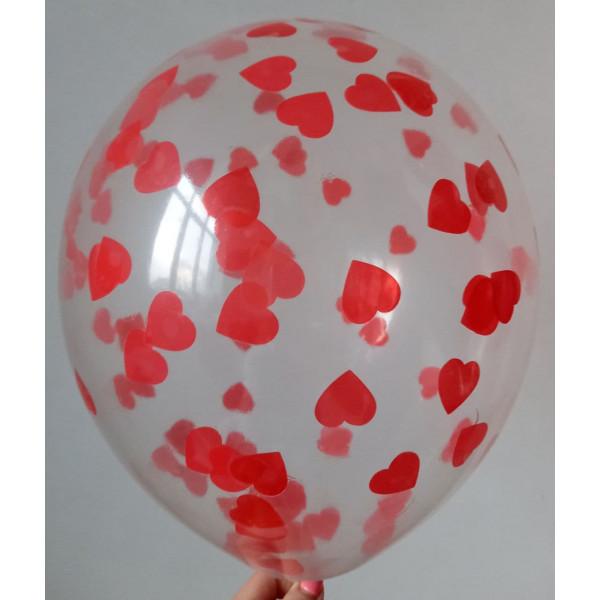 Шар с красным конфетти, сердца