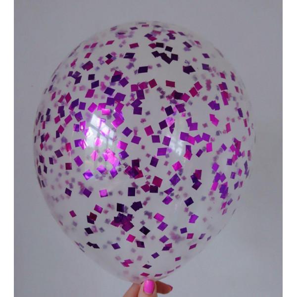 Шар с малиново-фиолетовым конфетти, квадрат