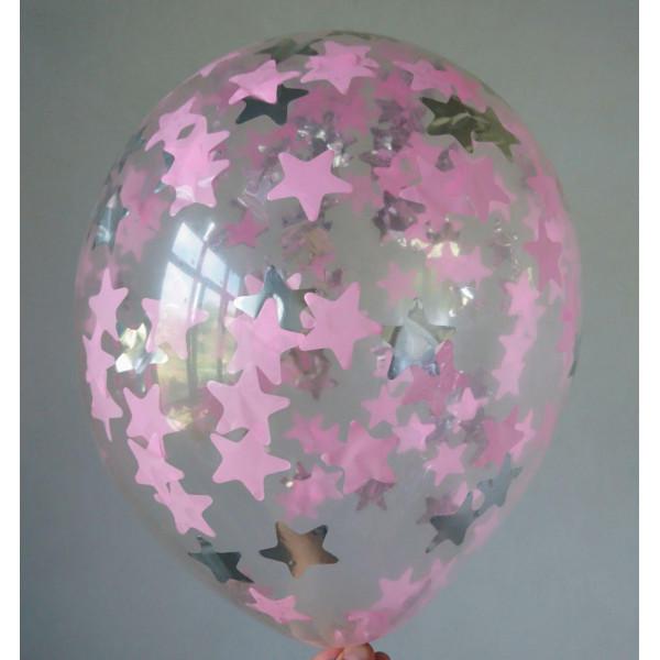 Шар с розовым и серебряным конфетти, звезды