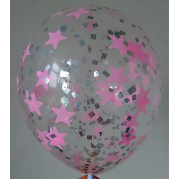 Шар с розовым и серебряным конфетти, звезды и квадраты