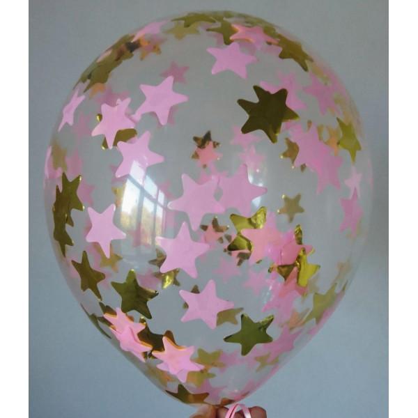 Шар с розовым и золотым конфетти, звезды