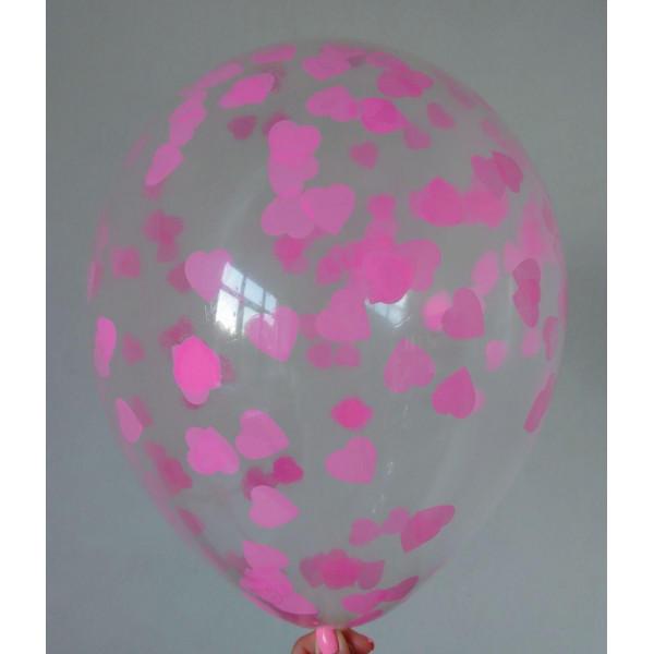 Шар с розовым конфетти, сердца