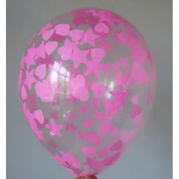 Шар с розовым конфетти, звезды и сердца