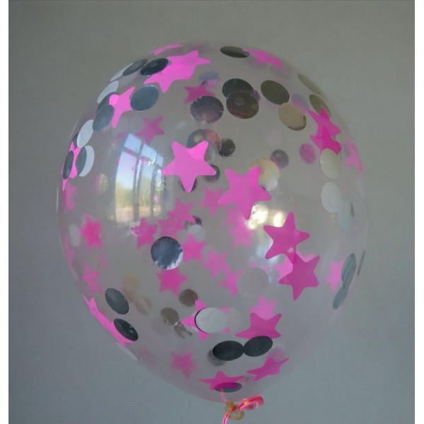 Шар с розовым, серебряным и белым конфетти, звезды и круги