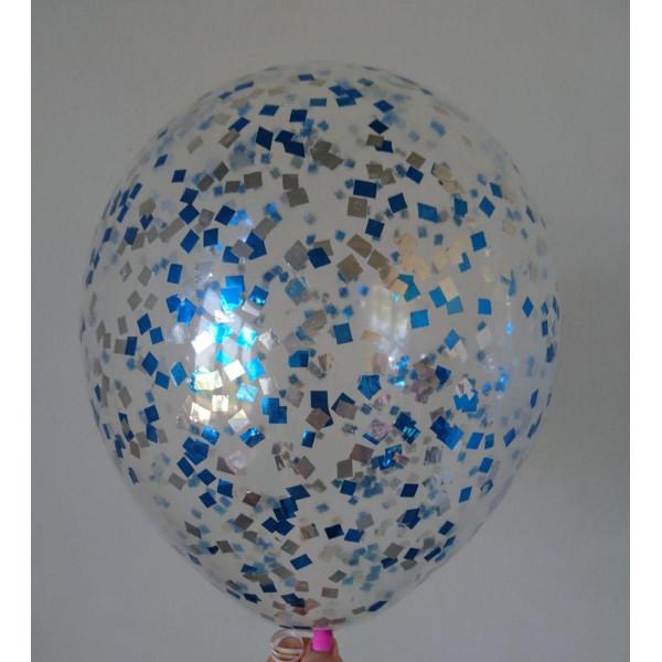 Шар с серебряно-синим конфетти, квадрат