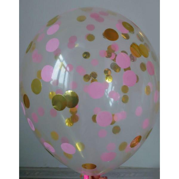 Шар с золотым и розовым конфетти, круги