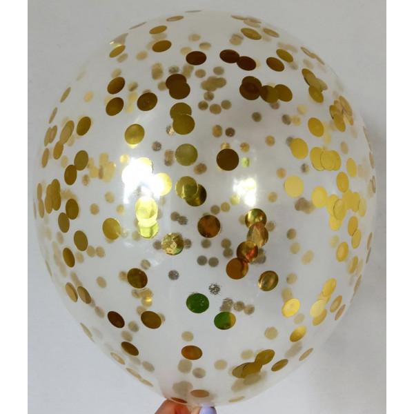 Шар с золотым конфетти, маленькие круги