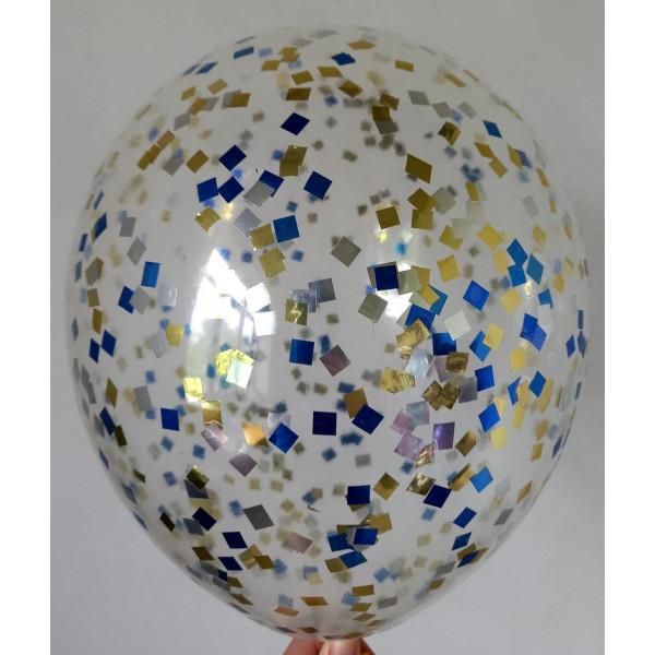 Шар с золотым, синим и серебряным конфетти, квадрат