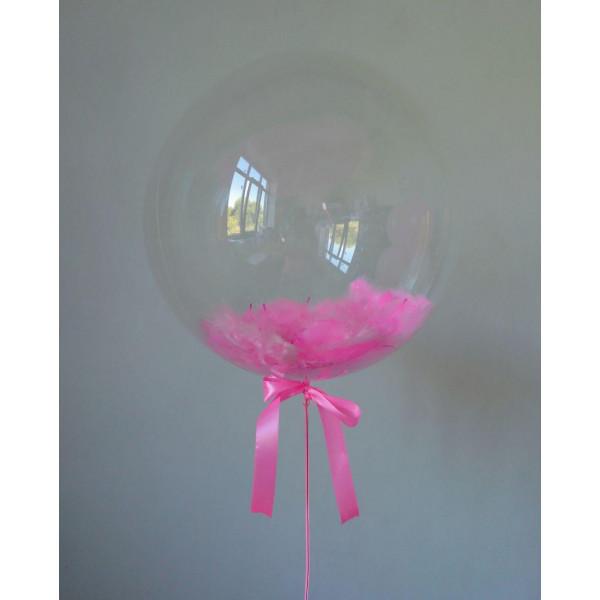 Шар-сфера Bubbles с розовыми перьями, 45 см
