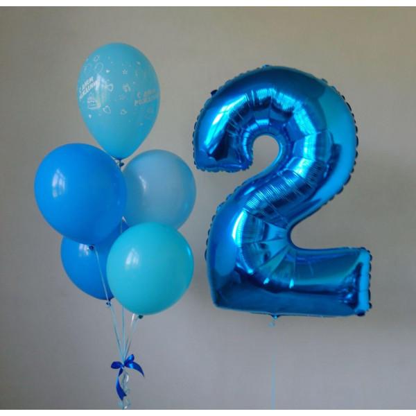 Сине-голубой набор шаров на 2 года