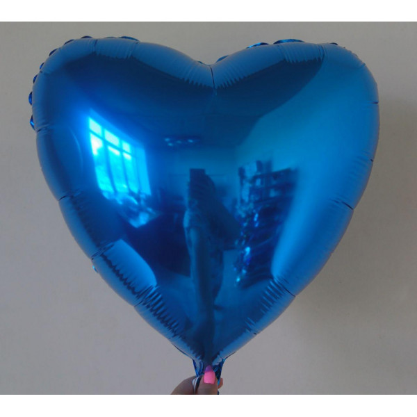 Синее фольгированное сердце, 45 см